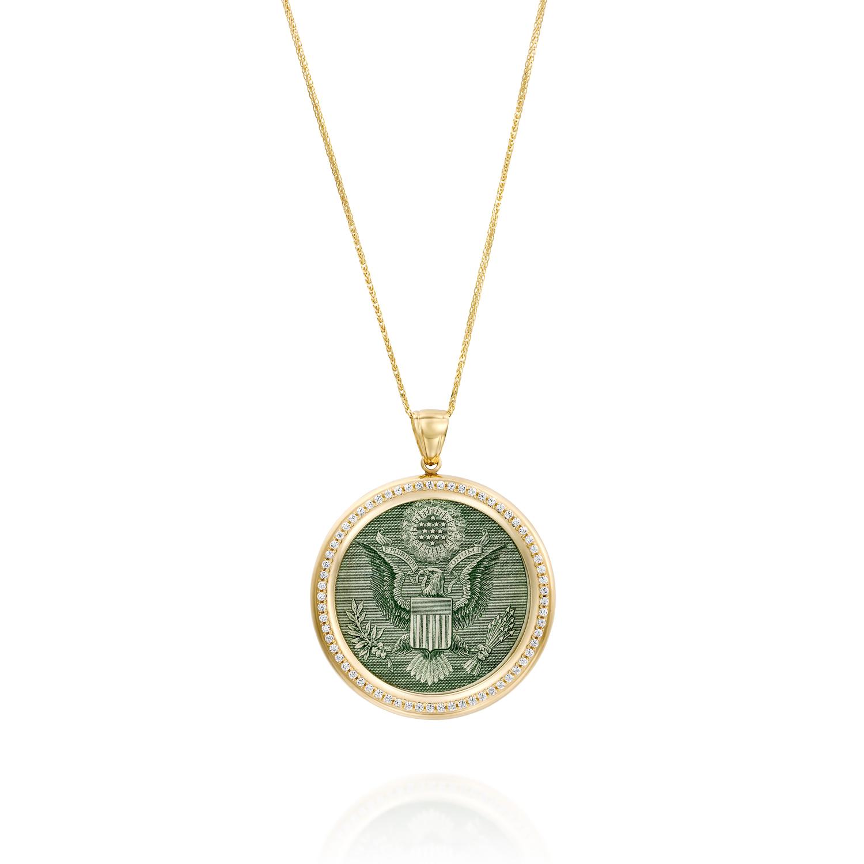 תמונה ראשית - תליון זהב מעוצב לשיבוץ הדולר