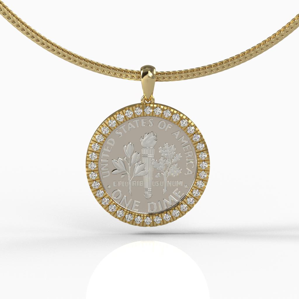 תמונה ראשית - תליון זהב מעוצב לשיבוץ מטבע